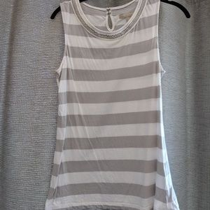 Gray and white tank with beading